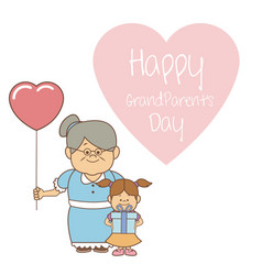 white background with elderly woman with balloon vector image