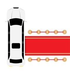 White limousine parked near red carpet vector