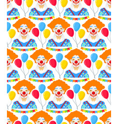 with clowns and colorfull balloons vector image