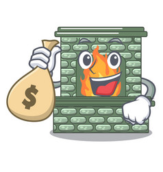 with money bag character fireplace with red brick vector image