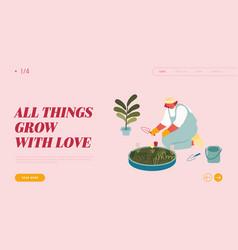 woman enjoying plants gardening hobwebsite vector image