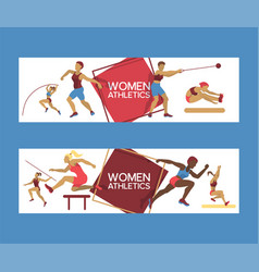 Women athletics set of banners vector