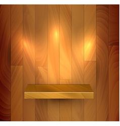 Wooden empty realistic bookshelf vector