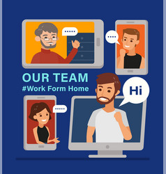 work from home remote working with a business vector image