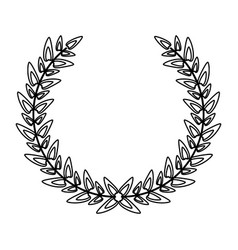 wreath laurel decoration emblem black and white vector image