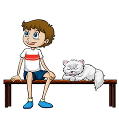 A smiling boy and cat sitting on a bench vector image