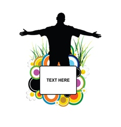 banner with man silhouette in flower vector image vector image