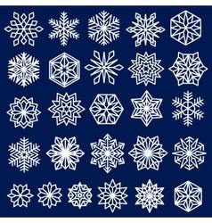 Blue Snowflakes Set Line Design vector image vector image