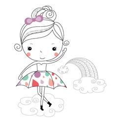Fairytale ballerina -rain kids vector image vector image
