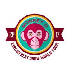 monkey d circus best show world tour 2017 emblem vector image