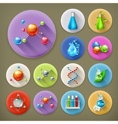 Science tubes and molecules long shadow icon set vector image