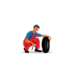 Auto mechanic with wheel sign Tire service vector image