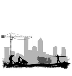construction workers on site vector image