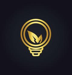 Eco leaf lightbulb electric gold logo vector