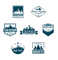 mountain logotypes with hill peaks minimal retro vector image vector image