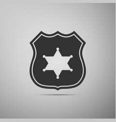 police badge flat icon on grey background vector image vector image
