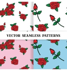 Set of seamless patterns with roses in the old vector image vector image