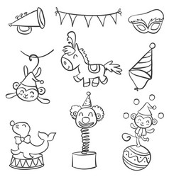 Element circus of doodle style vector
