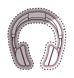 headphone music device icon vector image vector image