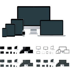 realistic laptop desktop computer mobile vector image
