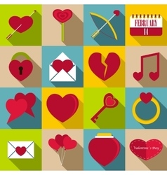 Saint Valentine items icons set flat style vector image