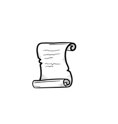 scroll of old paper hand drawn sketch icon vector image