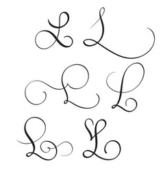 set of art calligraphy letter l with flourish of vector image vector image