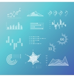 Thin line graphs charts diagrams with vector image vector image