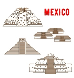 Ancient Maya and Incas culture landmarks of Mexico vector image