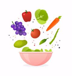 bowl of fresh vegetable salad healthy food flat vector image