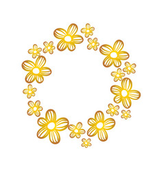 circle rustic flowers with petals decoration vector image vector image