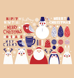 cute set of christmas elements vector image vector image