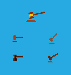 flat icon hammer set of defense hammer justice vector image vector image