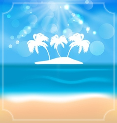 Holiday summer card with beautiful beach and palms vector image