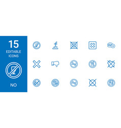15 no icons vector image