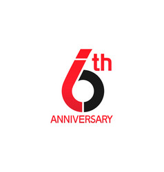 6 years anniversary logotype with black and red vector