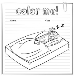 A color me worksheet with a log sleeping vector image
