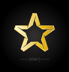 Abstract luxury golden star on black background vector image