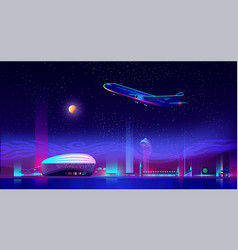 Airplane take off from runway at neon night city vector