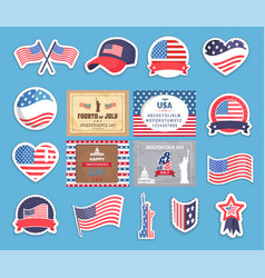 American independence day stickers with flag set vector