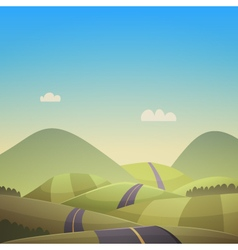 Asphalt Road Over Hills vector