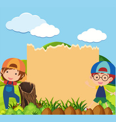 Banner template with two boys in park vector