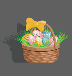 Basket egg easter celebration vector