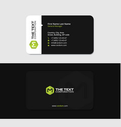 black business card with the green letter m vector image