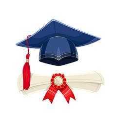 Blue academicic graduation cap vector