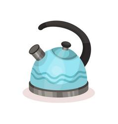 blue metal tea kettle with black handle vessel vector image