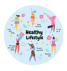 body positive overweight girls healthy lifestyle vector image