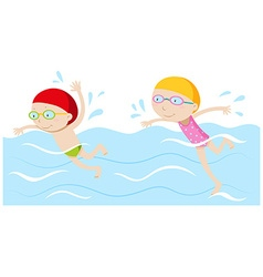 Boy and girl swimming in the pool vector