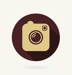 camera flat icon with long shadow vector image