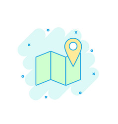 cartoon colored map pin icon in comic style vector image